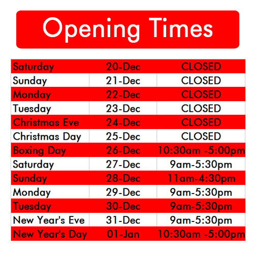 Holiday Opening Times 2014