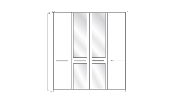 4 Door 2 Mirror Wardrobe