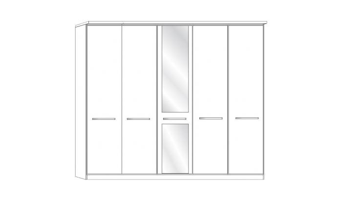 5 Door 1 Mirror Wardrobe