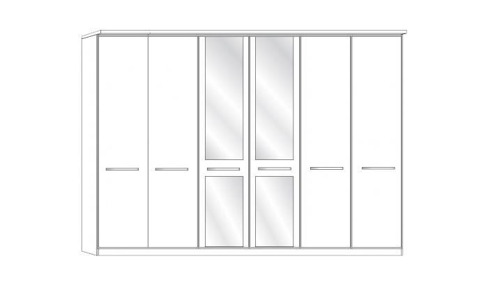 6 Door 2 Mirror Wardrobe