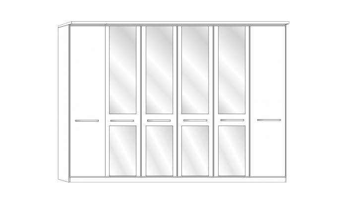 6 Door 4 Mirror Wardrobe