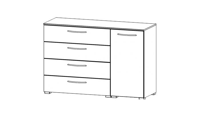 1 Door 4 Drawer Chest